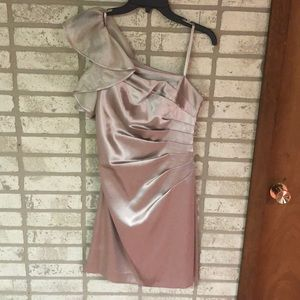 Champagne One Shoulder Dress for Wedding or Dance